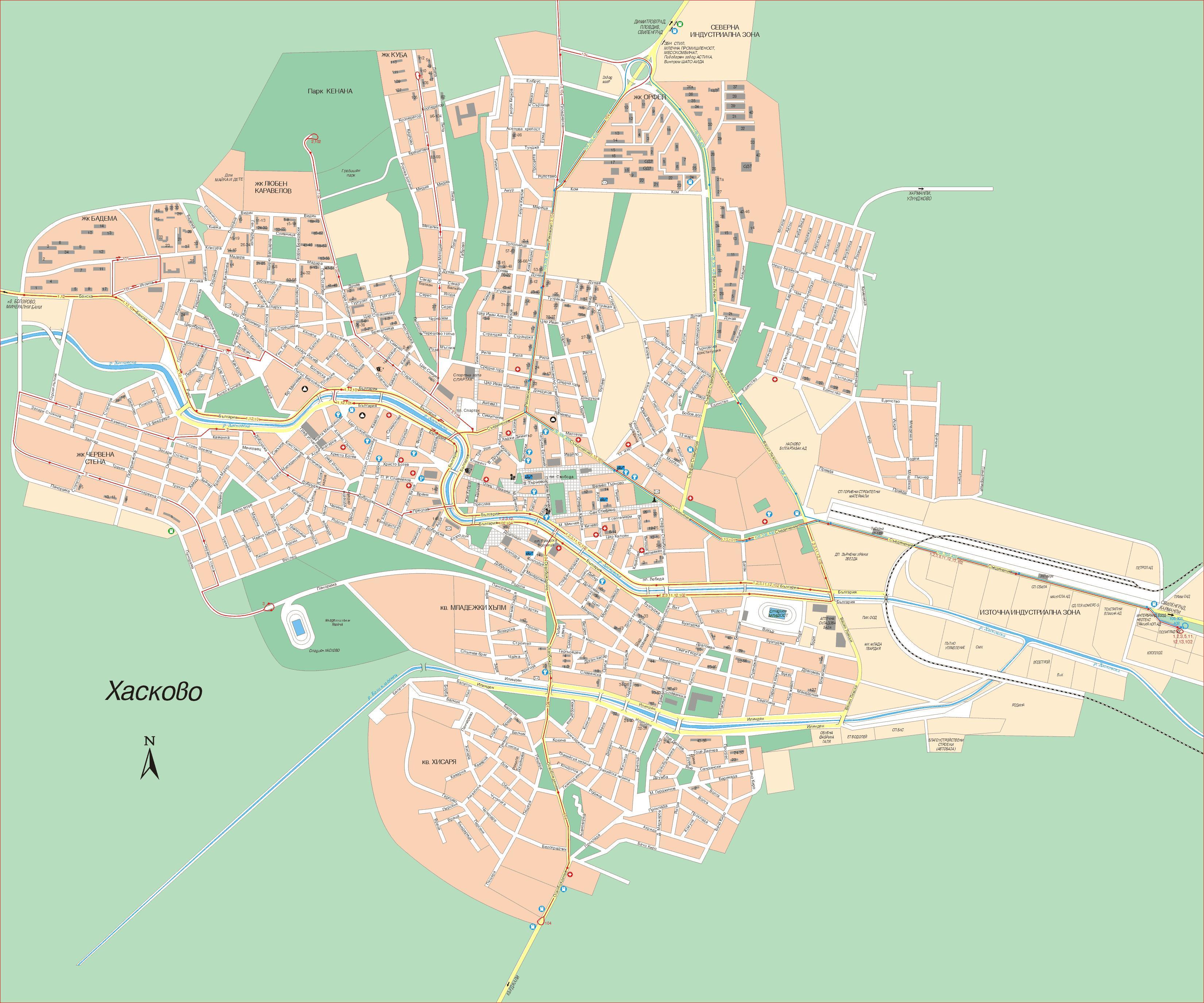 Karta Goroda Haskovo 82 Haskovskaya Oblast Besplatno