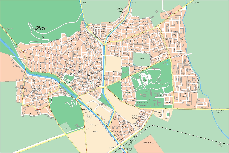 Karta Goroda Sliven 58 Slivenskaya Oblast Besplatno Skachat