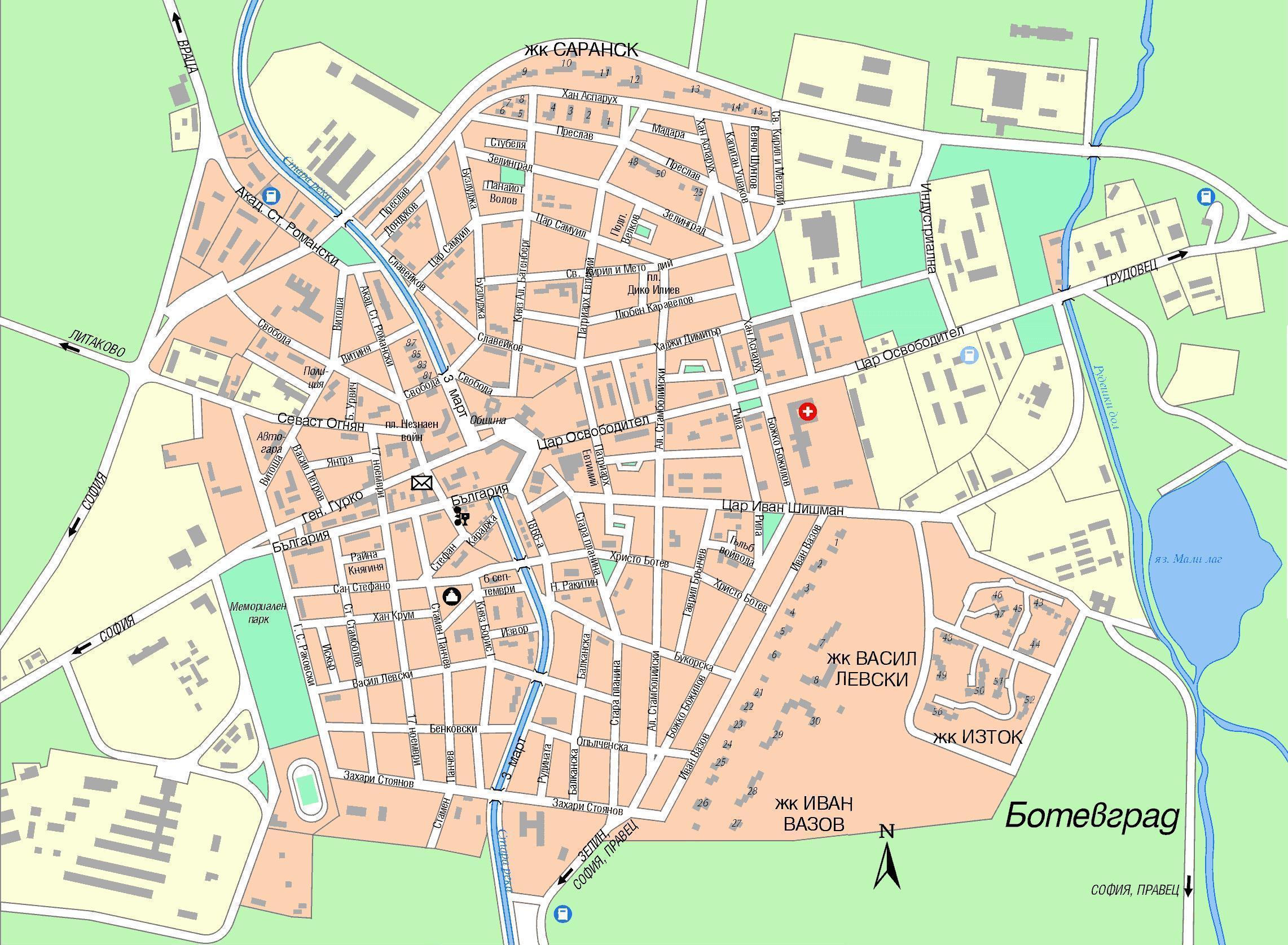 Karta Goroda Botevgrad 66 Sofijskaya Oblast Besplatno