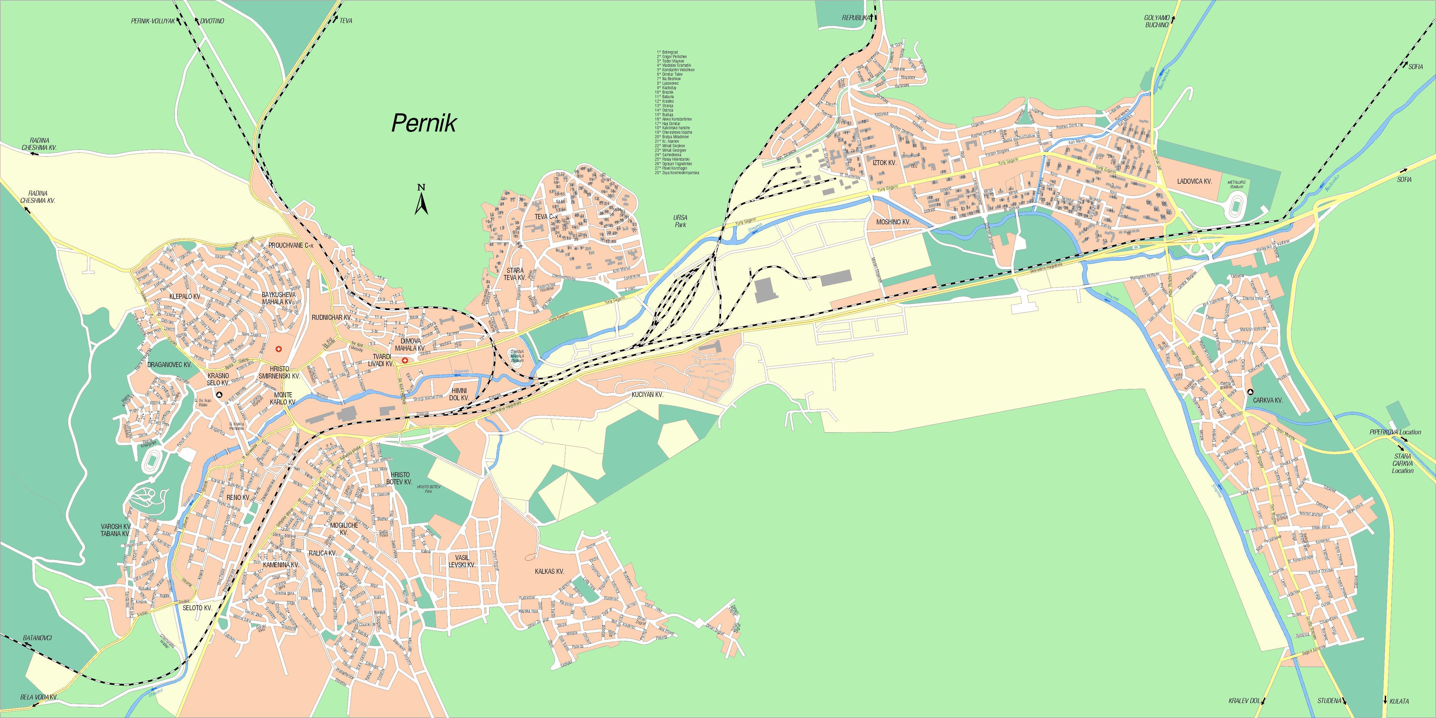 Karta Goroda Pernik 127 Pernikskaya Oblast Besplatno